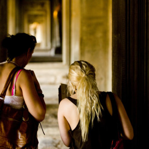 Girls finding their way through an ancient place