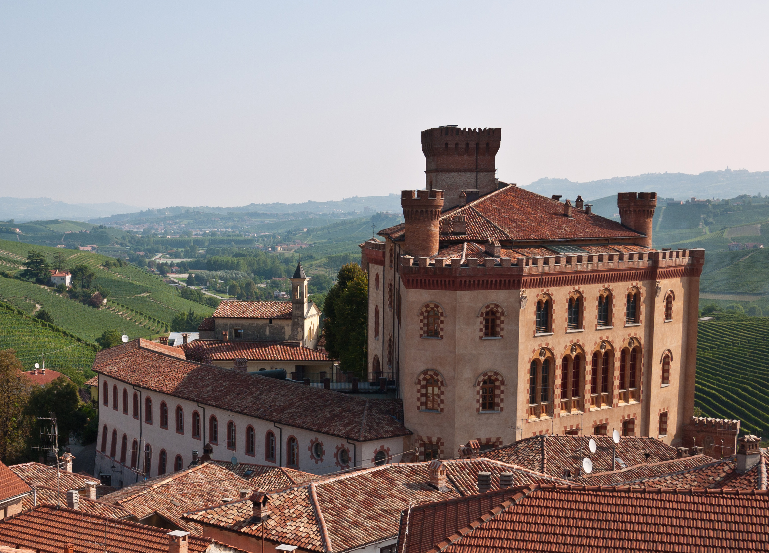 View of the castle in Barolo from the roof deck of the apartment we rented.